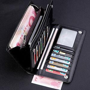 Herren-Men-Geldbeutel-Portemonnaie-Leder-Kredit-Kartenetui-Geldboerse-Brieftasche