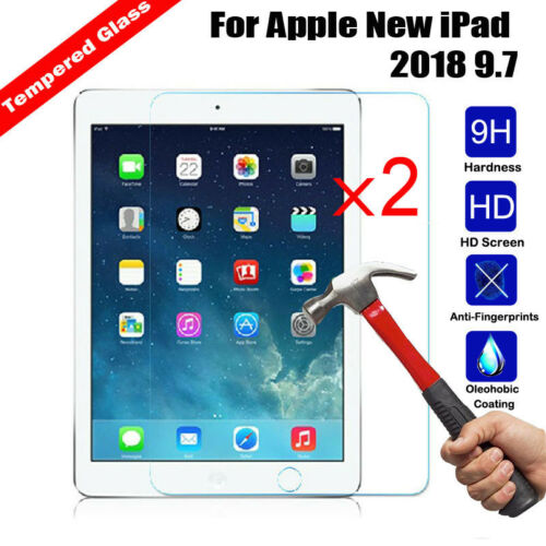 2Pcs Premium Tempered Glass Guard Screen Protector For Apple New iPad 2018  9.7