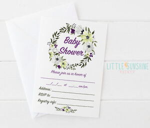 25 purple and green floral shabby chic fillable baby shower image is loading 25 purple and green floral shabby chic fillable filmwisefo