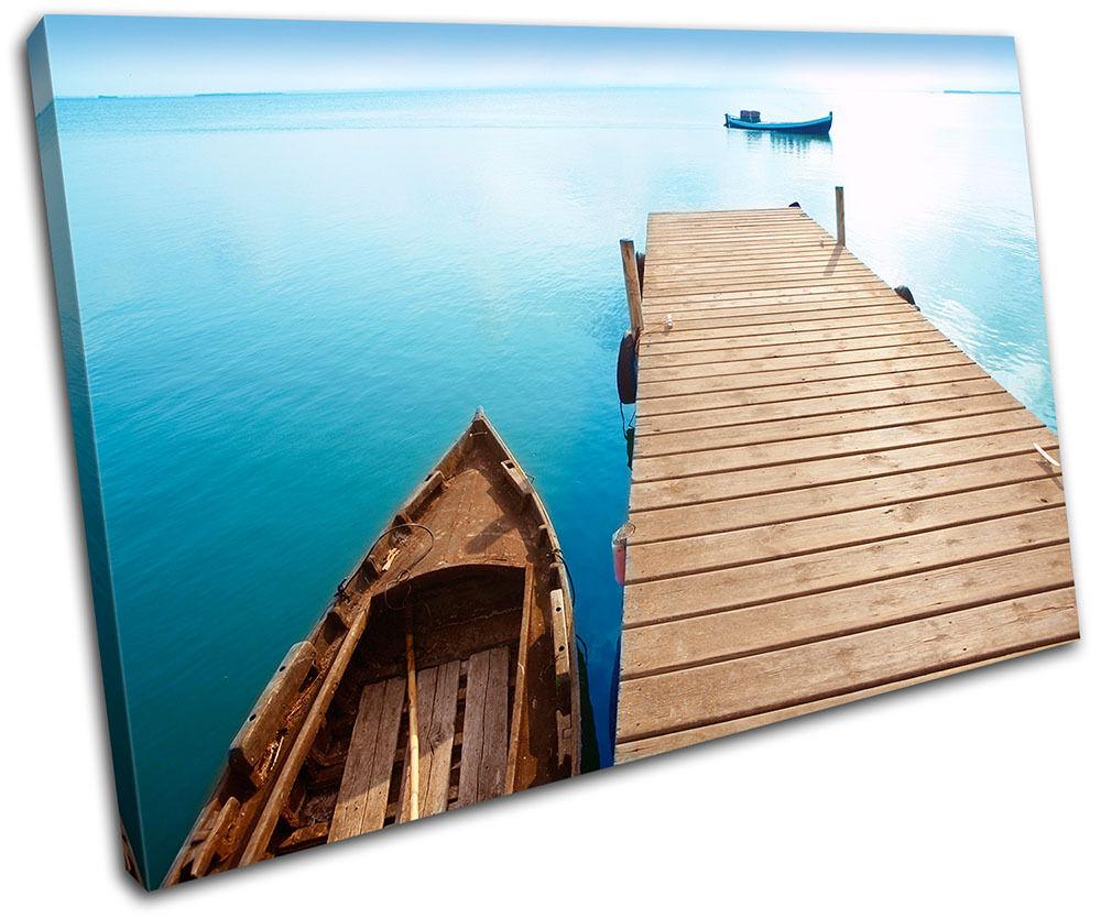 Lake Jetty Pier Boat Seascape Bathroom Canvas Artwork Picture Print Wall Photo