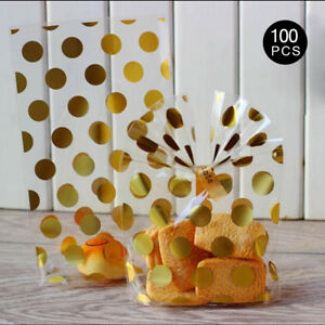 100 Gold Spots Cello Cellophane Christmas Party Wedding Favour Biscuit Gift Bags