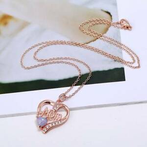 Love-Heart-Mom-Charm-Pendant-amp-Chain-Necklace-Gold-Crystal-Mum-Mother-039-s-Day-Gift