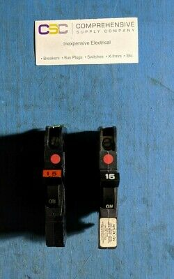 LOT OF 5 USED FPE NC015 CIRCUIT BREAKER THIN TYPE NC 1P 15 AMP 15A 60 AVAIL