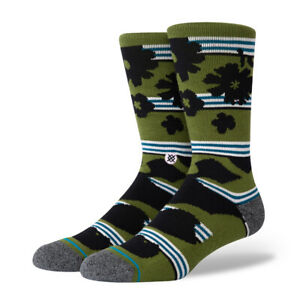 Stance-034-Berner-034-Classic-Crew-Socks-Green-Men-039-s-Graphic-Print-Sock