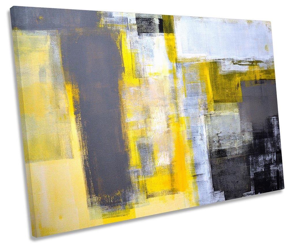 Abstract Gelb grau grau grau Grunge Framed SINGLE CANVAS PRINT Wall Art b53b9f