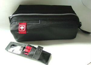 WENGER-SWISSGEAR-Black-Nylon-Canvas-Travel-Overnight-Shave-Kit-Case-NEW-NWOT