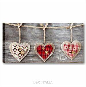 Vintage love 5 QUADRO QUADRI SU TELA 90x45 cm MODERNI CUORI HEART ...