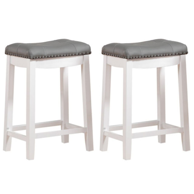 Peachy Gray Fabric Padded Seat Bar Stool 2Pc White Wood Frame Kitchen Counter Furniture Ibusinesslaw Wood Chair Design Ideas Ibusinesslaworg