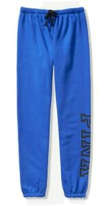 NWT-PINK-VS-VICTORIA-039-S-SECRET-CLASSIC-JOGGER-PANTS-BRIGHT-BLUE-SMALL-FREE-SHIP