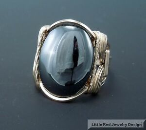 14 k Gold Filled Hematite Cabochon Wire Wrapped Ring