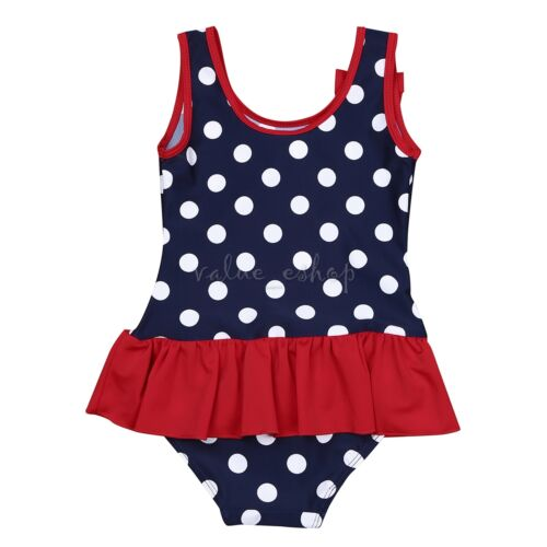 Baby Girls One Piece Swimwear Swimsuit Bikini Suit Beachwear Polka Dots Costume