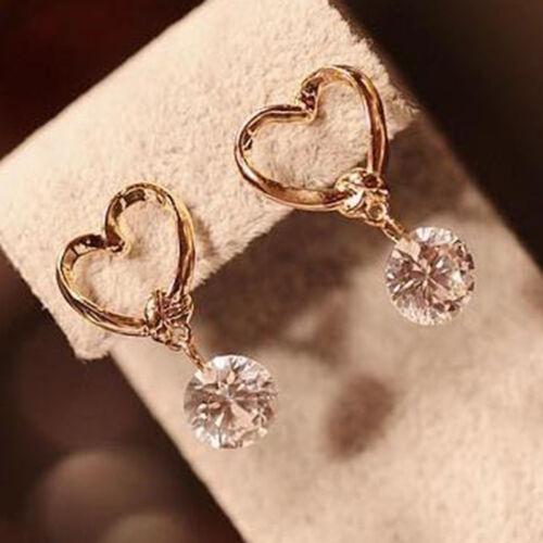 Women Heart Design Ear Pins Eardrop Charming Chic Water Drop Earrings 8C
