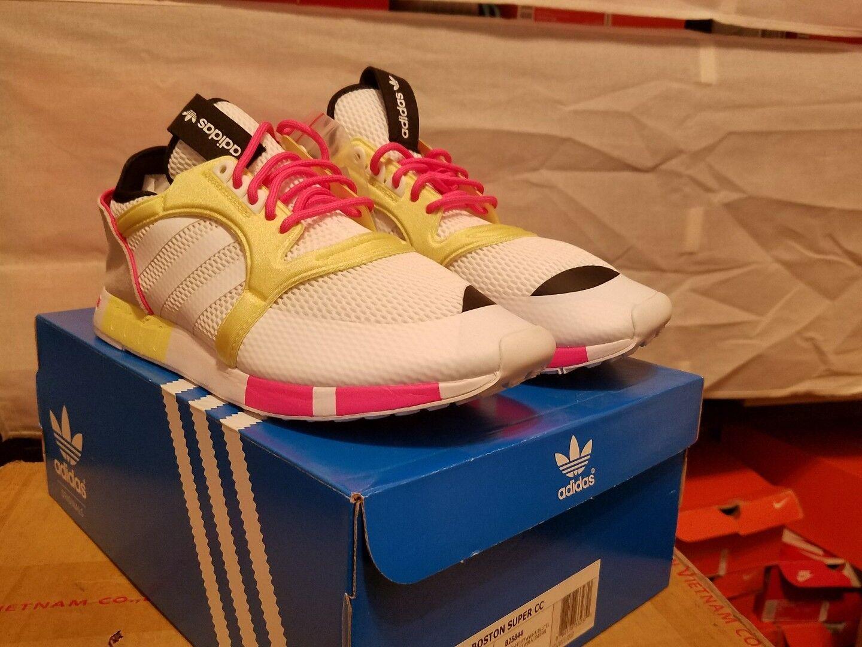 Nuove adidas originali boston super cc formatori b25844 bianco / rosa / giallo