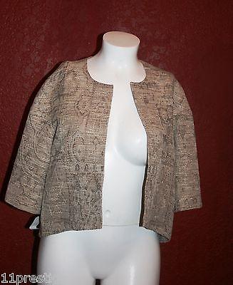 329$ Louben Made In Canada Donna Senza Collo Blazer/cardigan Oro Aperto Davanti
