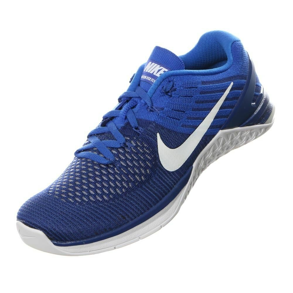 Nike Metcon DSX Flyknit Crossfit Blue Shoes Size 11.5 Royal Blue Crossfit White Weightlifting 43136e