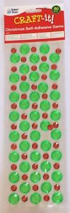 Pack-Of-80-Self-adhesive-Christmas-gem-stones-Green-18mm-Red-10mm
