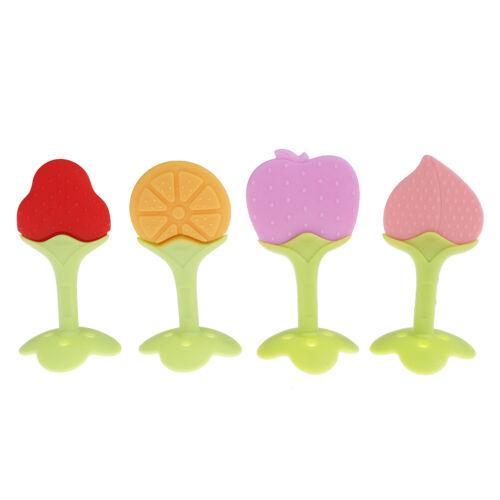 1Pc Baby kids food grade silicone fruit soft teeth stick teether chew toys gi gz
