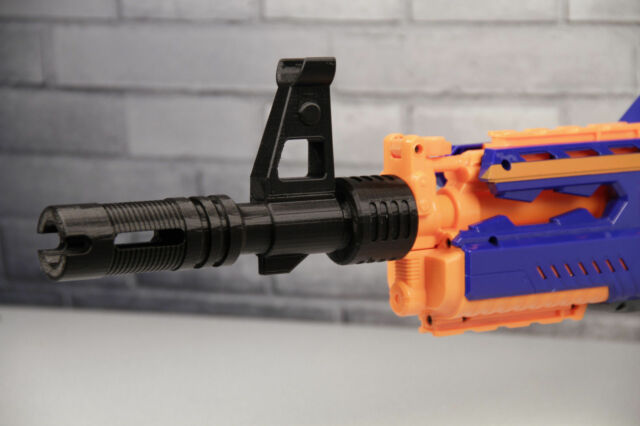 3D Printed – Muzzle Break Barrel Extension with Sight Tower for Nerf Gun
