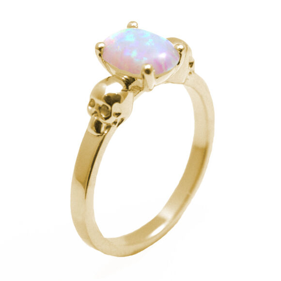 Skull Ring 9ct gold 1.4ct Oval Unicorn Tear Opal Engagement Ring
