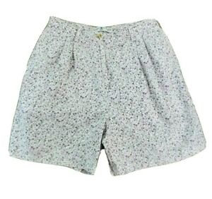 Tommy-Hilfiger-Womens-Size-12-10-Cotton-Bermuda-Shorts-White-w-Purple-Flowers