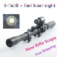Cross Reticle 3-7X20 .22 Rifle Optics Scope Sight & Red Laser Sight & Mounts