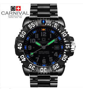 Mens-Watches-Tritium-Light-Watches-Dive-Rotating-Bezel-Stainless-Bracelet-Watch