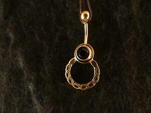 Piercing-24-Karat-Gold-Anhaenger-925-Silber-Kranz-Bauchnabel-Stein-Gruen