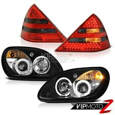 [4PC COMBO] 98-04 M-Benz SLK320 SLK230 R170 Halo Headlights Smoke LED Tail Lamps