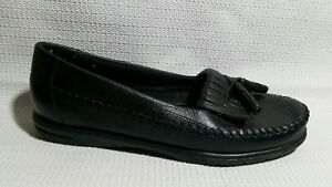 1ccc774f9e3 Dr Scholls Womens 5.5 M Black Leather Moccasin Tassel Kiltie Loafers ...