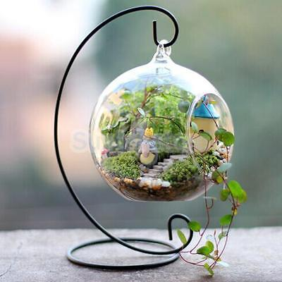 9inch Black Metal Hanging Flower Plant Vase Pot Stand Holder Home Decor DIY
