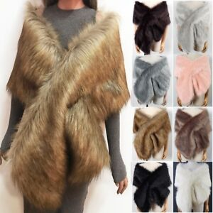 UK Womens Winter Faux Fur Scarf Neck Warmer Wrap Extra Large Collar Shawl Stole