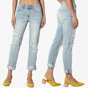 771a7454204 Image is loading TheMogan-Distressed-Girlfriend-Straight-Relaxed-Roll-Up- Jeans-