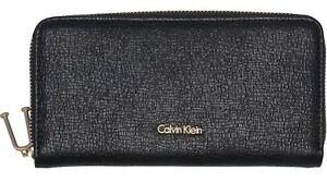 Calvin-Klein-Arch-Large-Zip-Around-Portafoglio-Black-Nero-Nuovo