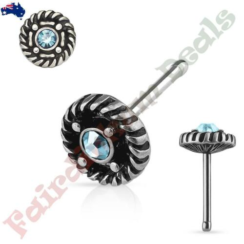 Surgical Steel Antique Silver Nose Stud With Aqua Gem Rope Edge Centre Top