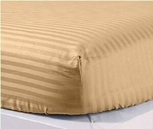 Taupe-Stripe-1pc-Fitted-Sheet-Soft-100-Cotton-1000Thread-Count-All-US-Size