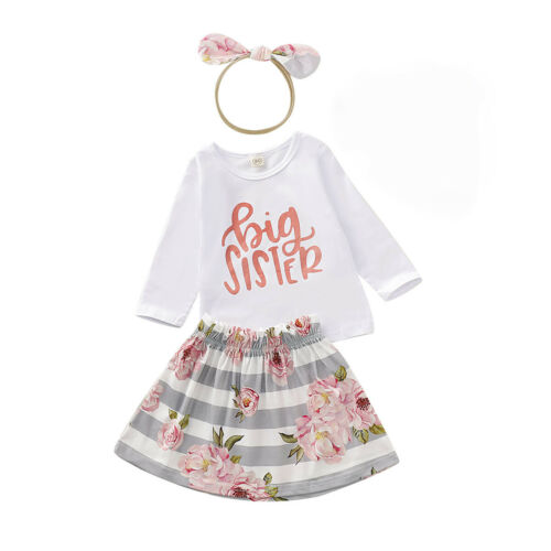 Big Little Sister Match Outfit Baby Girls Tops Romper Floral Pants Dress Clothes
