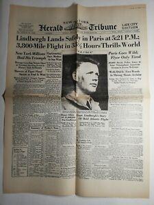 N290-La-Une-Du-Journal-herald-tribune-22-may-1927-Lindbergh-lands-safely-Paris