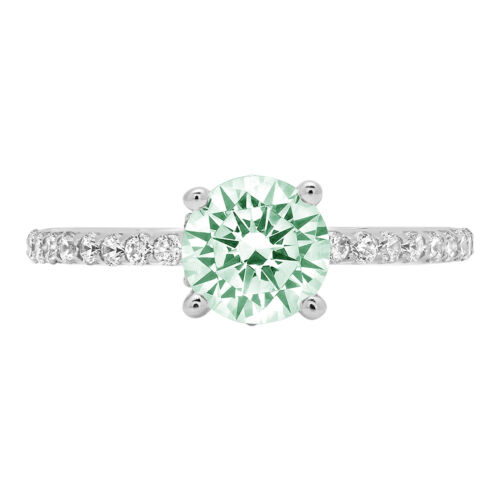 Details about  /1.54ct Round cathedral Turquoise Green Engagement Wedding Ring 14k White Gold