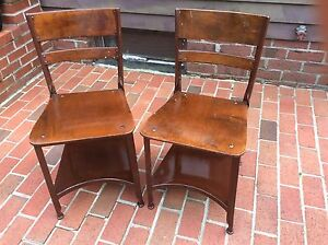 details about 2 vintage matching toledo wood metal school chairs w book shelf very good