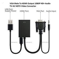 VGA To HDMI Convertor 1080P HD+ Audio TV AV HDTV Video Cable Converter Adapter