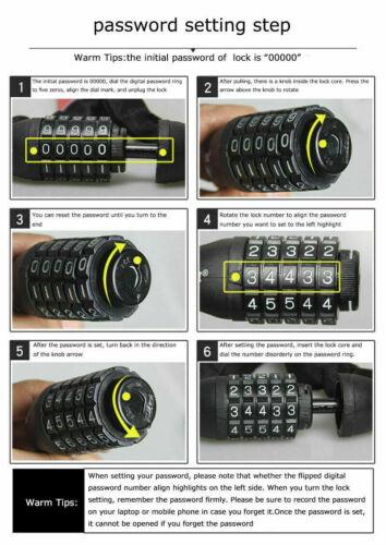 US Stock Portable Safe 5-Digit Combination Password Bike Lock  Keyless