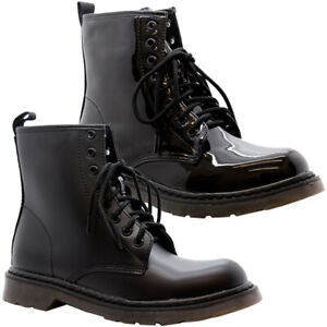 New-Womens-Ankle-Chunky-Platform-Shoes-Ladies-Lace-Up-Goth-Punk-Shiny-Boots-Size