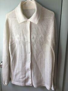 Vintage-Cardigan-Sweater-Grandma-White-Off-white-Knit-Openwork-Floral-Mesh
