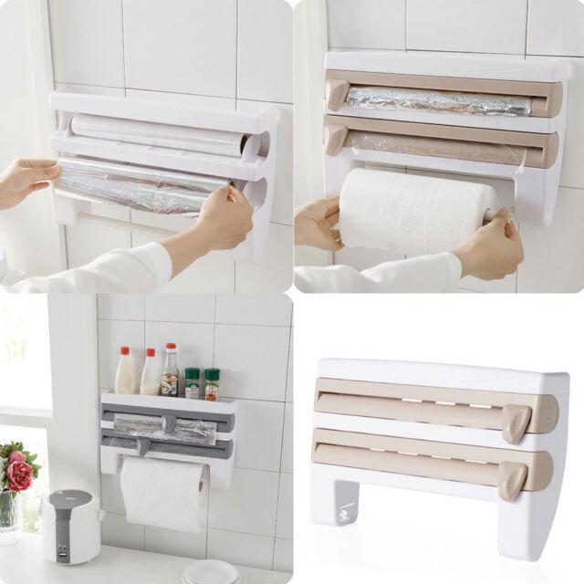 Kitchen Roll Dispenser Cling Film Tin Foil Towel Holder Rack Wall Mounted