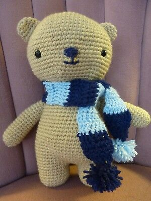 Mirabella Creations crochet teddy bear with removable scarf.Stands ... | 400x300