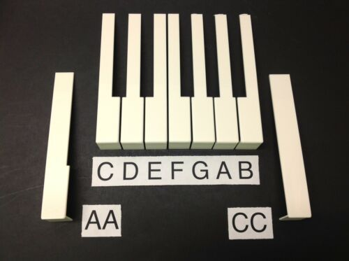 pick A,B,C,D,E,F,G,AA,CC German Piano Keytop 52mm Light Cream with Front