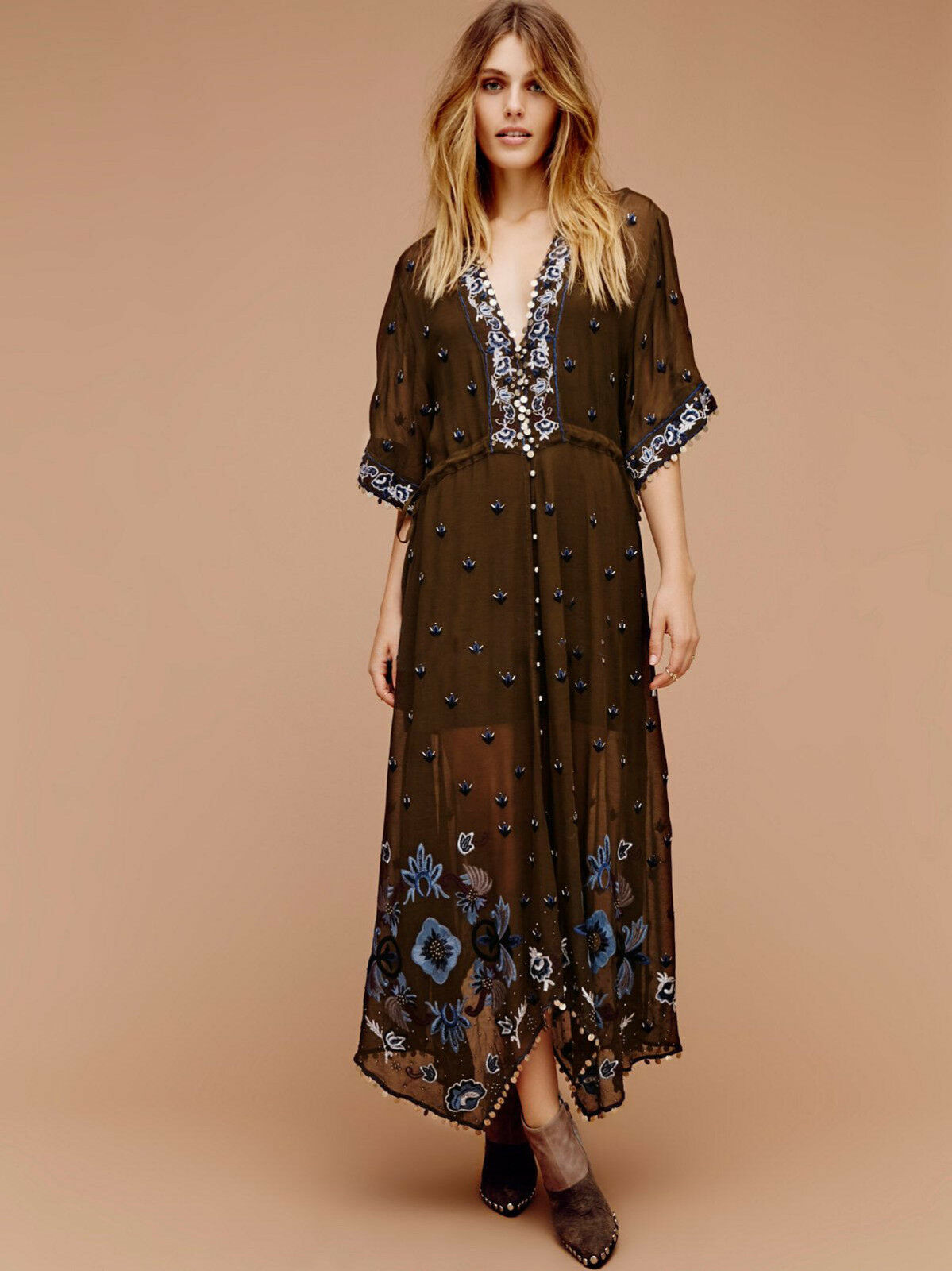 Fashion Casual sexy deep V embroidery cotton blend full length dress summer new