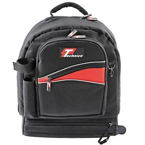 54e235faa0e0 Image is loading Technics-Tradesman-Rucksack-Black-Backpack-Tool-Bag