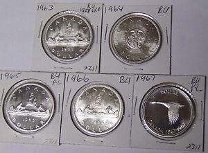 Lot-of-5-BU-Canada-Silver-Dollars-1963-1964-1965-1966-1967-Uncirculated