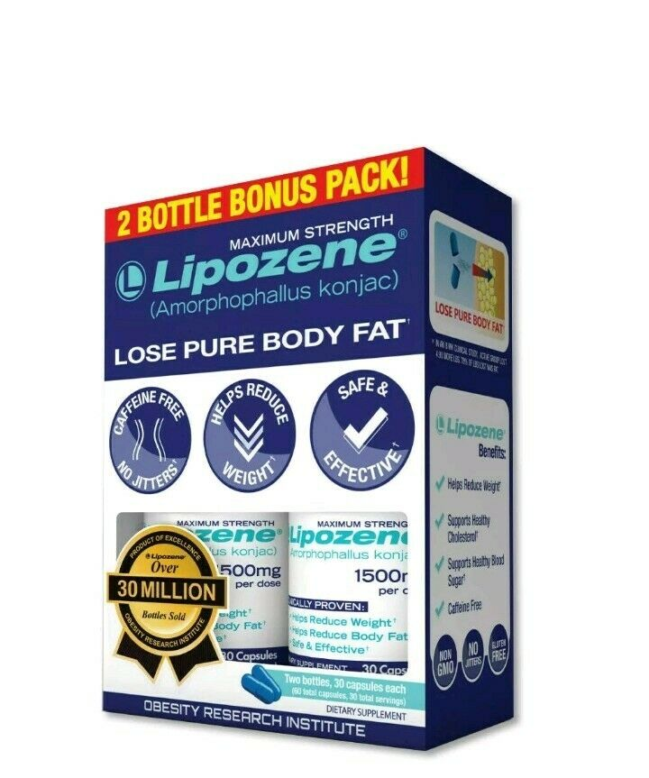 2 PACKLipozene LOSE PURE BODY FAT MAXIMUM STRENGTH 60 Caps WEIGHT LOSS DIETARY